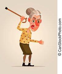 套間, 婦女, 老, 憤怒, character., 插圖, 矢量, 卡通