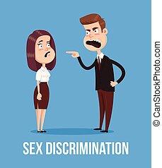 套間, 婦女, 辦公室, 性, concept., 字, 插圖, 老板, 矢量, worker., 雇員, 卡通, 憤怒, 尖聲叫, 歧視, 人