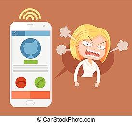 套間, 婦女, 辦公室, 憤怒, 字, 插圖, 矢量, call., 卡通