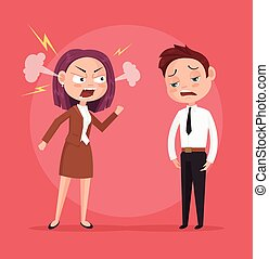 套間, 婦女, yells, 字, 插圖, 老板, 矢量, worker., 卡通