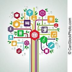 套間, 學校, 网絡, 圖象, 背, 樹。, 教育