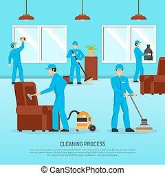 套間, 工業, 海報, 工作, 清掃, 隊