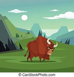 套間, 憤怒, 字, 插圖, 吃草, 矢量, field., 公牛, 卡通