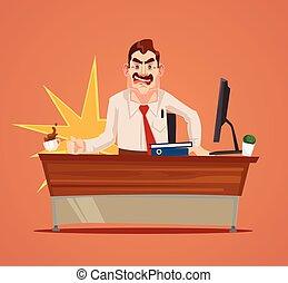 套間, 憤怒, 字, 插圖, 老板, 矢量, scream., 卡通