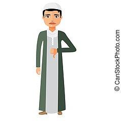 套間, 憤怒, 穆斯林, 字, 不快樂, arab, 矢量, 插圖, 商人, 卡通