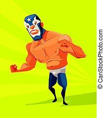 套間, 憤怒, character., 插圖, 矢量, 摔跤運動員, 卡通, 人