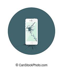 套間, 打破, iphone, 白色圈子, 圖象