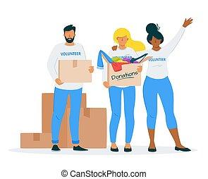 套間, 插圖, 矢量, 捐贈, 衣服, 慈善