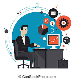 套間, 插圖, 辦公室, 商人