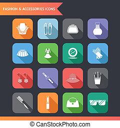 套間, 時裝, 集合, 圖象, 附件, 插圖, 符號, 矢量