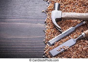 套間, 木制, 葡萄酒, 鑿子, 刨, 爪, 蟒蛇, 木頭, 錘子