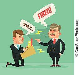 套間, 燃燒, 辦公室, 憤怒, character., 插圖, 老板, 矢量, worker., 卡通