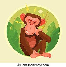 套間, 猴子, 憤怒, character., 插圖, 矢量, 卡通