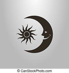 套間, 簡單, 太陽, 符號, 月亮, 矢量, 卡通