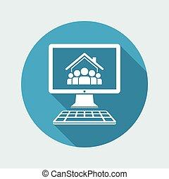 套間, 組, 人們, 住房, -, 矢量, 在網上, 圖象