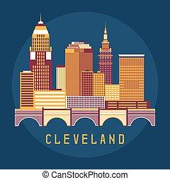 套間, 美國, 插圖, 地平線, 矢量, 設計, 克利夫蘭, 俄亥俄