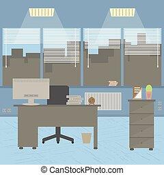 套間, 設計師, 辦公室, room., 現代, 桌面, 內部, design.