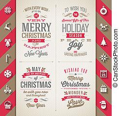 套間, 設計, 集合, 圖象, -, 長, 假期, 矢量, 插圖, 陰影, 類型, 聖誕節