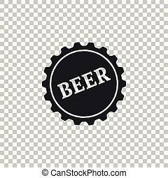 套間, 詞, 帽子, 被隔离, 插圖, 背景。, 啤酒, 矢量, 瓶子, 圖象, 透明, design.