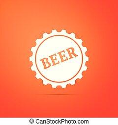 套間, 詞, 帽子, 被隔离, 插圖, 背景。, 啤酒, 矢量, 瓶子, 橙, 圖象, design.
