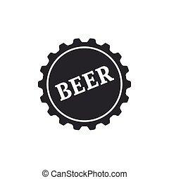 套間, 詞, isolated., 帽子, 插圖, 啤酒, 矢量, 瓶子, 圖象, design.