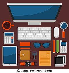 套間, 辦公室, 頂部, 矢量, 設計, 工作場所, 看法