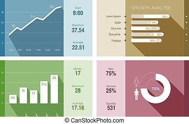 套間, 金融, report., 事務, 矢量, infographics, design.