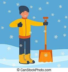 套間, 鏟, 冬天, snowflakes., 大, 雪, snow., 開始, 矢量, 設計, 清掃, illustration., 落下, 人, style., 風景, 愉快