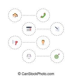 套間, 集合, 事務, elements., 圖象, 組, 電話, 目標, 包括, 符號, 也, 統一, 矢量, 日曆, objects., 鋼筆, 其他