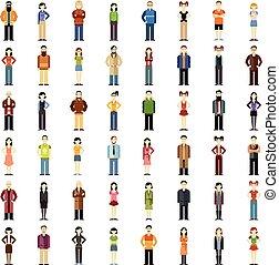 套間, 集合, 人們, 圖象