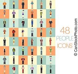 套間, 集合, 人們, 48, 圖象
