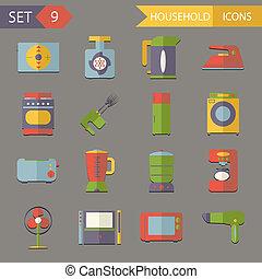 套間, 集合, 圖象, 家庭, 插圖, 符號, 矢量, retro