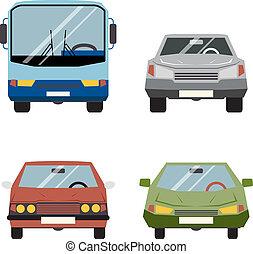 套間, 集合, 圖象, 汽車, 插圖, 矢量, retro