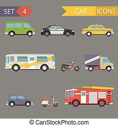 套間, 集合, 圖象, 汽車, 矢量, retro
