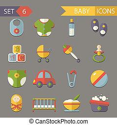套間, 集合, 圖象, 符號, 矢量, 嬰孩, 童年