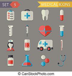 套間, 集合, 圖象, 醫學的符號, 矢量, retro