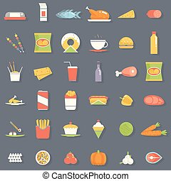 套間, 集合, 圖象, 食物, 插圖, 符號, 矢量, retro
