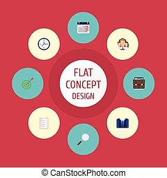 套間, 集合, 目標, elements., 圖象, 時間表, 組, 包括, 事務, 也, 矢量, 符號, 小提箱, objects., 日曆, 其他, 天
