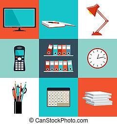 套間, 集合, 辦公室, 事情, 設備, 矢量, objects.