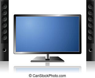 套間, 集合, 電視, 現代, 系統, 外部, 新, 音調