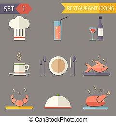 套間, 集合, 餐館, 圖象, 符號, 矢量, retro