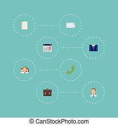 套間, 集合, elements., 圖象, 組, 目錄, 包括, 符號, 也, 工作, 矢量, objects., 電話, 信封, 日曆, 統一, 其他