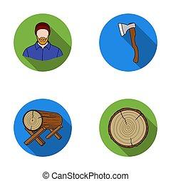 套間, 風格, 傷口, 日誌, 斧, 圖象, logs., 符號, web., 彙整, 位圖, raster, 集合, 插圖, 支持, 股票, 木匠, 鋸木厂, 木材