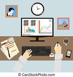 套間, 風格, 矢量, infographic, 設計, 工作場所, 手