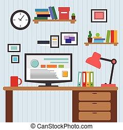 套間, 風格, 設計師, 辦公室 像, 顯示, 現代, 桌面, 應用, 內部, 矢量, 設計, 最簡單派藝術家, 接口, color., 元素