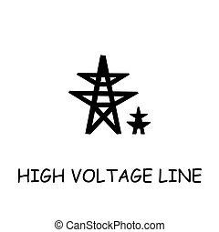 套間, 高, 矢量, 線, 電壓, 圖象