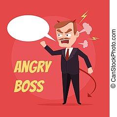 套間, bubble., 憤怒, 字, 插圖, 老板, 矢量, 演說, scream., 卡通