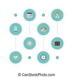 套間, cogwheel, 組, elements., 圖象, 鐘, 集合, 包括, 符號, 也, 工作, 矢量, 文件夾, objects., 日曆, 其他, 天