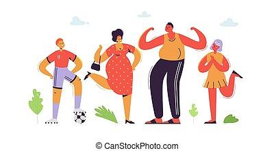 套間, daughter., 家庭, 父親, 兒子, 插圖, cartoons., characters., 矢量, 父母, 母親, kids., 愉快