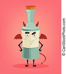 套間, mascot., 酒精, 憤怒, 字, 插圖, 矢量, 瓶子, 卡通